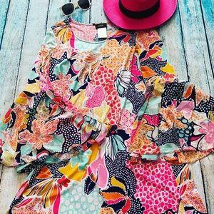 MSK bell sleeve dress in fun colors